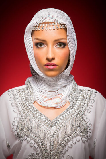 White head scarf with silver stitching by Jebelle.